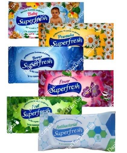 Влажные салфетки SuperFresh (Суперфреш), 15 шт.