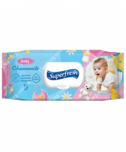 Детские влажные салфетки Super Fresh chamomile с клапаном 72 шт