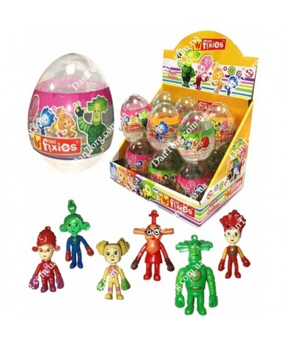 Прозрачное яйцо Фиксики с игрушкой и драже