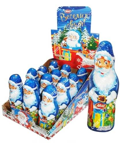 Шоколадная фигурка Дед Мороз 60 гр с сюрпризом
