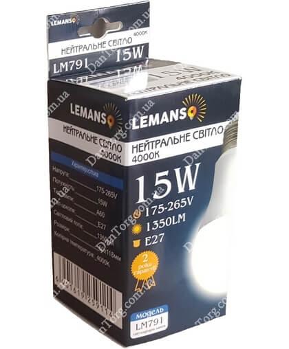 """Лампа LED Lemanso  A60 15W E27 4000K 220V от """"DantorG"""""""