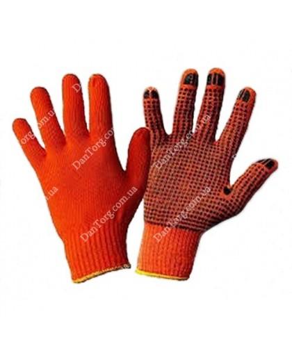Перчатка Польская х/б оранжевая с ПВХ покрытием